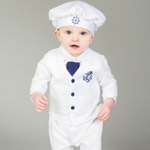 Baby Boys White & Navy Anchor 5 Piece Satin Christening Suit