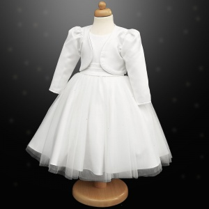 Girls White Diamante Organza Dress with Bolero Jacket