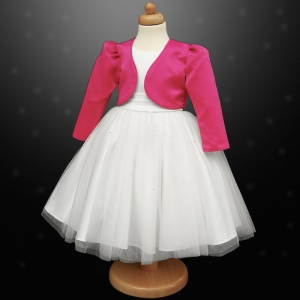 Girls White Diamante Organza Dress with Cerise Bolero Jacket