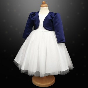Girls White Diamante Organza Dress with Navy Bolero Jacket