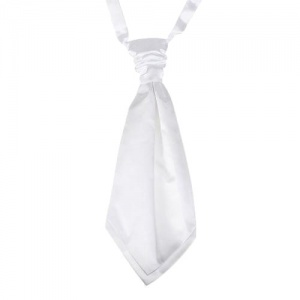 Boys White Adjustable Scrunchie Wedding Cravat