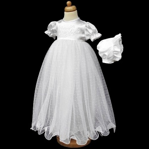 Baby Girls White My Christening Day Satin Tulle Gown & Bonnet