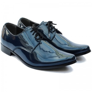 Boys Navy Patent Derby Pointed Shoes 'George'