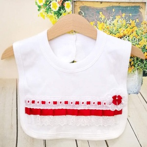 White Cotton Bib with Lace & Red Ribbon