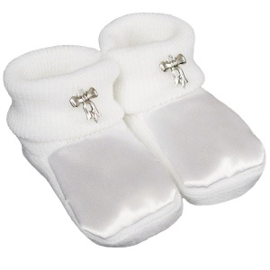 Baby Girls White Satin Silver Bow Booties