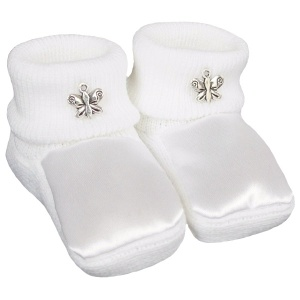 Baby Girls White Satin Silver Butterfly Booties