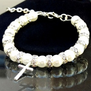 Baby Girls Ivory Pearl & Crystal Christening Bracelet with Cross Charm