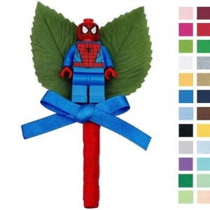 Boys Red & Blue Buttonhole with Spiderman Figure