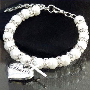 Baby Girls White Goddaughter Christening Bracelet with Cross Charm