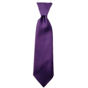 Boys Cadbury Purple Plain Satin Tie on Elastic