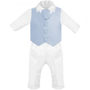 Baby Boys Blue & White Diamond 4 Piece Christening Suit