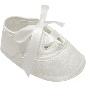 Baby Boys Ivory Dupion Lace Up Christening Shoes