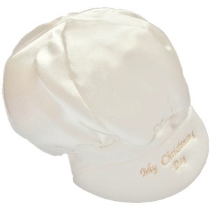 Baby Boys Ivory Satin My Christening Day Cap Hat