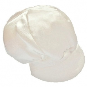 Baby Boys Ivory Plain Satin Cap Hat
