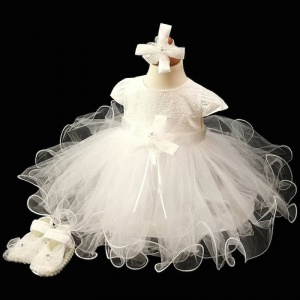 Baby Girls Ivory Bow Tulle Dress, Headband & Shoes