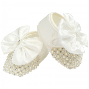 Baby Girls Ivory Satin Bow Shoes with Diamante & Pearls