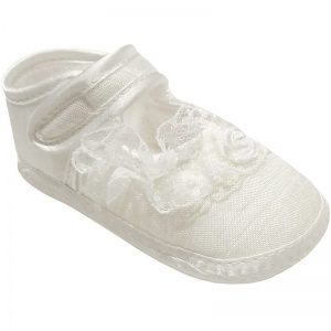 Baby Girls Ivory Dupion Frilly Lace Christening Shoes