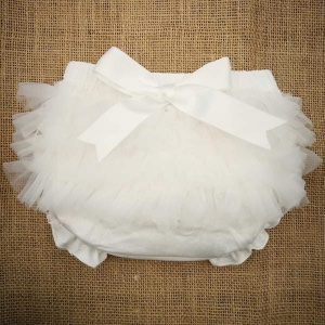 Baby Girls Ivory Frilly Organza & Bow Cotton Knickers
