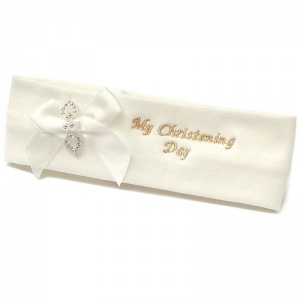 Baby Girls Ivory Cotton My Christening Day Headband