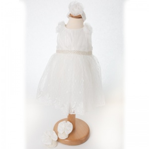 Baby Girls Ivory Sparkly Dress, Headband & Shoes