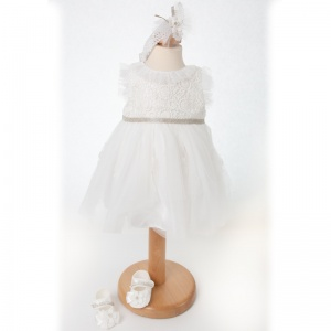 Baby Girls Off White Lace Dress, Headband & Shoes