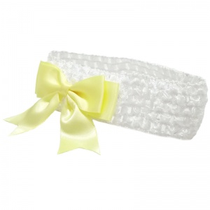 Baby Girls White Crochet Headband with Lemon Satin Bow