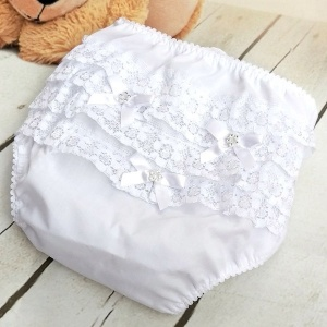 Baby Girls White Diamante Bow Frilly Lace Knickers