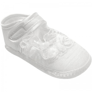 Baby Girls White Dupion Frilly Lace Christening Shoes