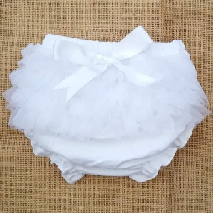 Baby Girls White Frilly Organza & Bow Cotton Knickers