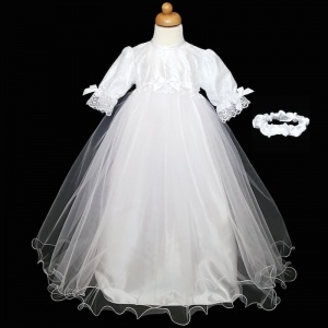 Baby Girls White Bow Lace & Tulle Christening Gown & Headband