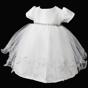 Baby Girls White & Silver Sparkly Hearts Tulle Dress