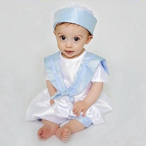 Baby Boys Blue & White Dupion Christening Romper & Hat