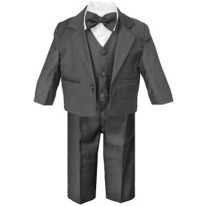 Baby Boys Charcoal Grey 5 Piece Bow Tie Suit