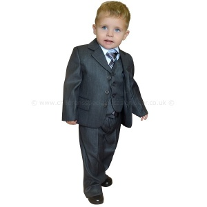 Boys Charcoal Grey 5 Piece Jacket Suit