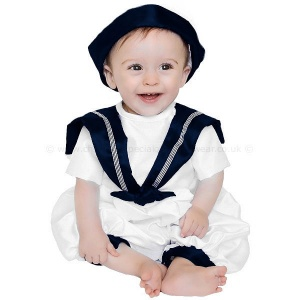 Baby Boys Navy & White Dupion Christening Romper & Hat