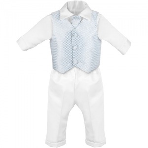 Baby Boys White & Blue Check 4 Piece Satin Christening Suit