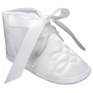 Baby Boys White Satin Emb Christening Baptism Pram Shoes