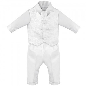 Baby Boys White Swirl 4 Piece Satin Christening Suit