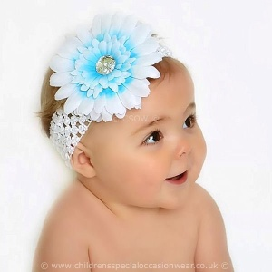 Baby Girls Blue & White Large Diamante Flower Crochet Headband