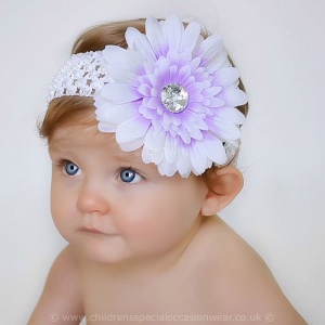 Baby Girls Lilac & White Large Diamante Flower Crochet Headband