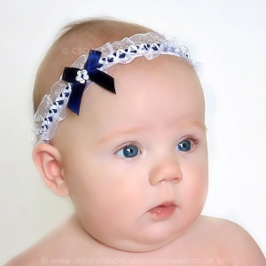 Baby Girls Navy & White Organza Headband with Satin & Diamante Bow