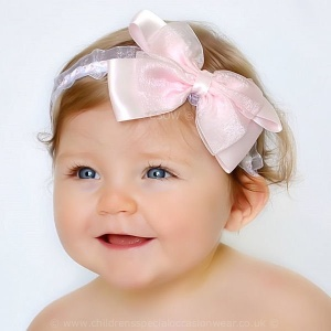 Baby Girls Pink & White Organza Headband with Large Satin & Organza Bow