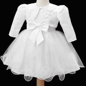 Baby Girls White Bow Tulle Dress & Bolero Jacket