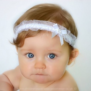Baby Girls White Organza Headband with Satin & Diamante Bow