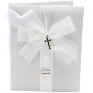 Baby White Satin Christening Photo Album with Silver Heart & Cross