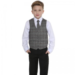 Boys Black & Tartan Tweed Red Check 4 Piece Suit