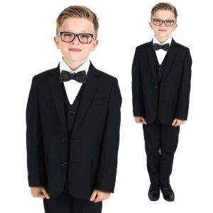 Boys Black 5 Piece Slim Fit Bow Tie Suit