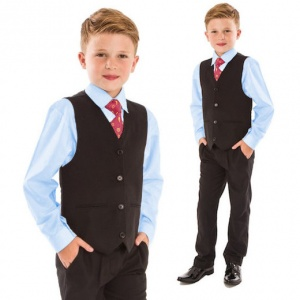 Boys Blue & Black 4 Piece Slim Fit Suit