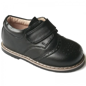 Boys Brogue Black Rubber Sole Velcro Shoes