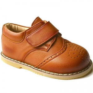 Boys Brogue Brown Rubber Sole Velcro Shoes